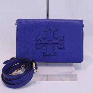 Tory Burch Blue Pebbled Leather Zip Crossbody
